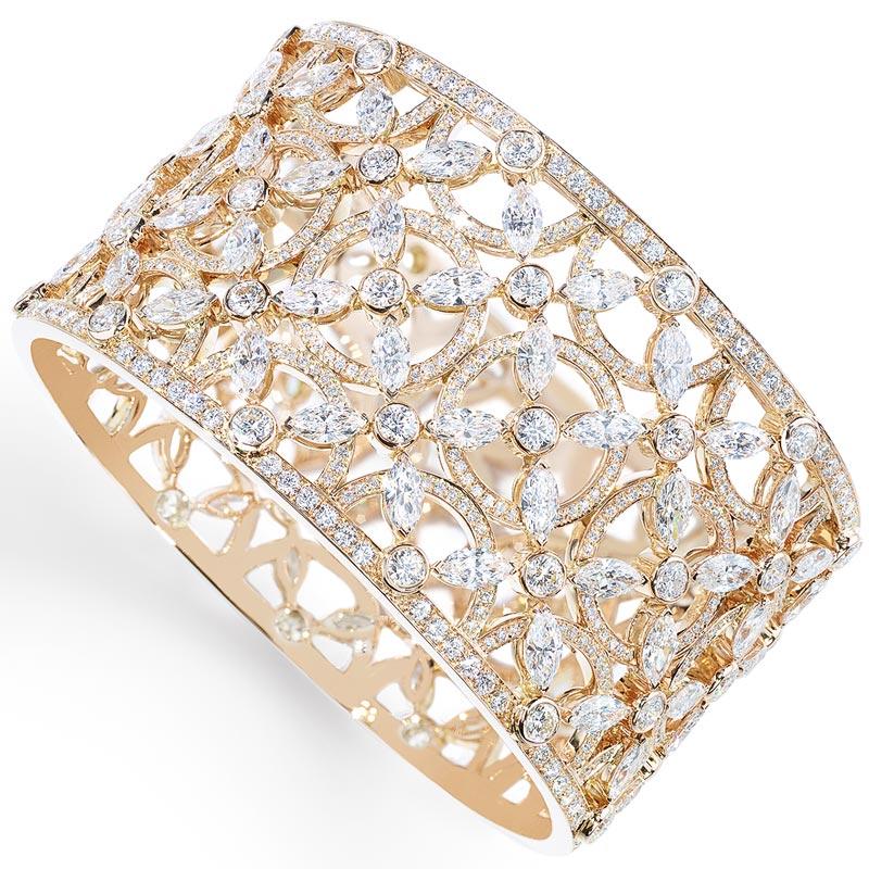 - Cuff bracelet inpink gold &diamonds <b>G36L9100</b>