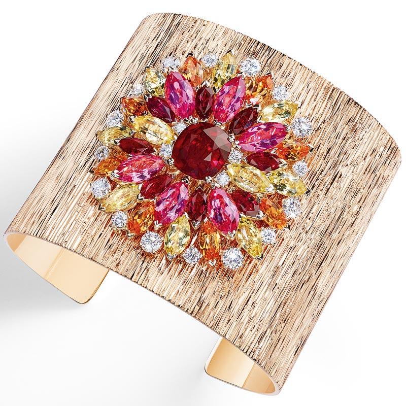 - Cuff bracelet inpink gold - ruby - pink spinels - mandarin garnets - yellow beryls &diamonds <b>G36L9400</b>