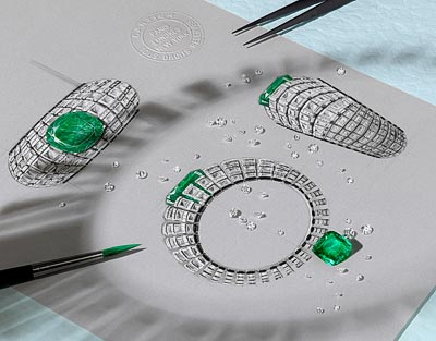 Clarté bracelet: White gold, one 66.09-carat cushion-shaped emerald fromColombia, rock crystal, onyx, brilliant-cut diamonds.