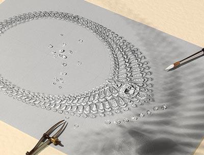 Étourdissant necklace: Platinum, one 34.96-carat D IF type IIa cushion-shaped brilliant-cut diamond, one 1.60-carat troïdia-shaped diamond, troïdia-shaped diamonds, brilliant-cut diamonds. The first two rows are removable.