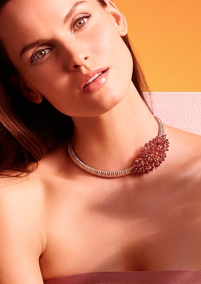 Arabica necklace Pink gold, white gold, garnet long beads, ruby beads, brown and white brilliant-cut diamonds.