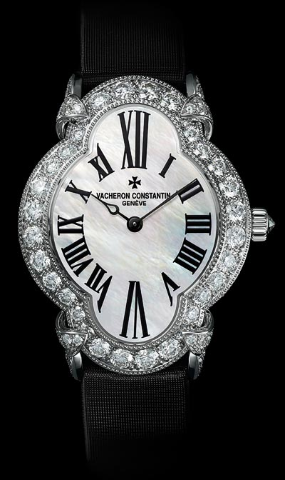 """The flowing curves ofthe case """"An exceptional watch fitted witha black satin strap"""" - Ref.: 37640/000G-B030"""