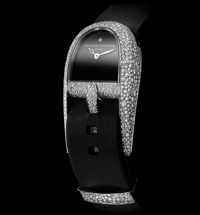 """An exclusive and daring design """"The winding crown is concealed beneath theblack satin strap"""""""