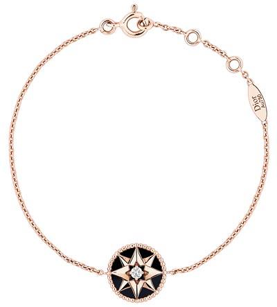 """""""Rose des vents"""" bracelet  pink gold, diamond and onyx. Ref.: JRDV95018"""
