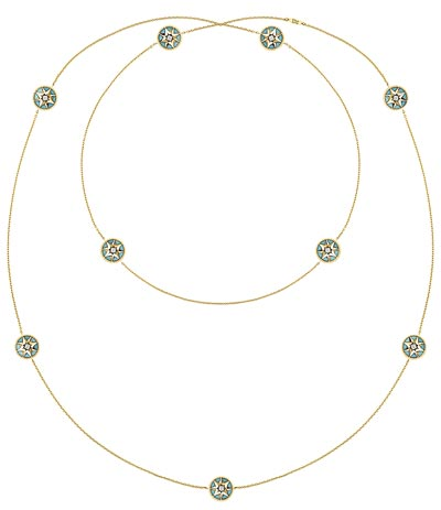 "- <b>""Rose des vents"" long necklace</b> yellow gold - diamonds and turquoise. <b>Ref.: JRDV95010</b>"