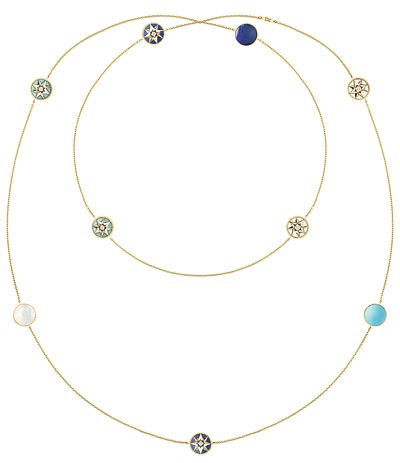 """- <b>""""Rose des vents"""" long necklace</b> yellow gold - diamonds - lapis lazuli - mother-of-pearl and turquoise. <b>Ref.: JRDV95024</b>"""