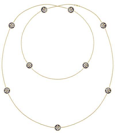 "- <b>""Rose des vents"" long necklace</b> yellow gold – diamonds and lapis lazuli. <b>Réf.: JRDV95011</b>"