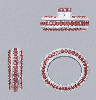 Van Cleef &Arpels Bracelet montre Rubis Secret  Or blanc, diamants, or rose, 115 rubis ovales totalisant 151,25 carats (origine: Mozambique), mouvement quartz - Gouaché