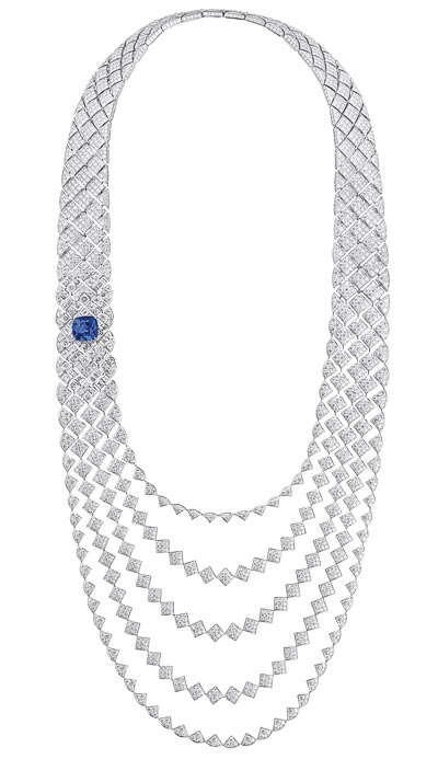 """Signature de Saphir"" necklace in 18K white gold set with diamonds and a cushion-cut sapphire ""Signature de  Chanel"" Collection"