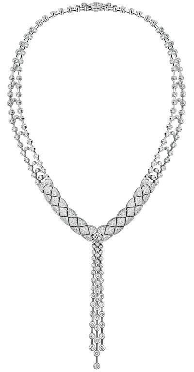 """Signature White Tie"" necklace in 18K white gold set with diamonds. ""Signature de  Chanel"" Collection"