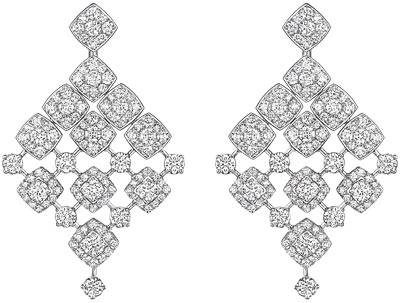 """Signature Dangling"" earrings in 18K white gold set with 244 brilliant-cut diamonds for a total weight of 12 carats. ""Signature de  Chanel"" Collection"