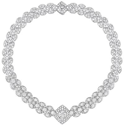 """""""Signature Ultime"""" necklace in18K white gold set witha 1.5-carat brilliant-cut diamond and 364 brilliant-cut diamonds for atotal weight of25.42 carats. Signature de  Chanel"""" Collection"""