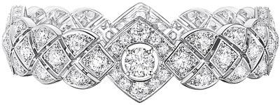 """Signature Ultime"" bracelet in18K white gold set witha 1-carat brilliant-cut diamond and 196 brilliant-cut diamonds for atotal weight of12.9 carats. ""Signature de  Chanel"" Collection"