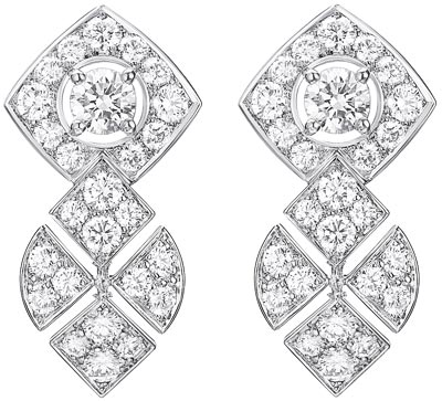 """Signature Ultime"" earrings in 18K white gold set with 96 brilliant-cut diamonds for a total weight of 4.8 carats.  ""Signature de  Chanel"" Collection"
