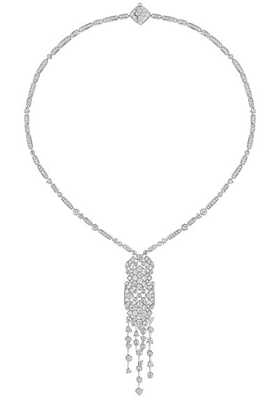 """""""Signature Surpiquée"""" necklace in18K white gold set with293 brilliant-cut diamonds for atotal weight of8.9 carats. """"Signature de  Chanel"""" Collection"""