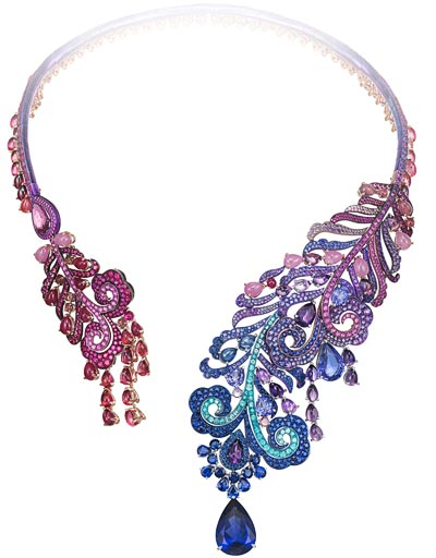Necklace in18ct white gold and titanium set withfancy-cut sapphires, fancy-cut amethysts, fancy-cut rubellites, fancy-cut rubies, fancy-cut tanzanites and Paraiba tourmalines and adorned witha 14ct pear-shaped tanzanite. Ref.: 810429-1001
