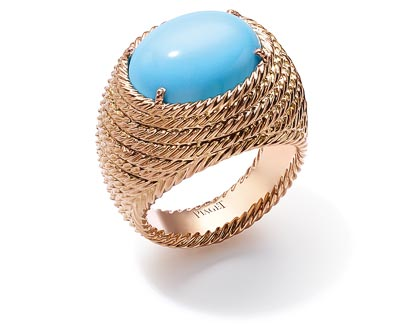 Extremely Piaget ring «Décor Torsade» in18K pink gold set witha 1 turquoise (approx. 7 cts). Ref.:G34L7C00