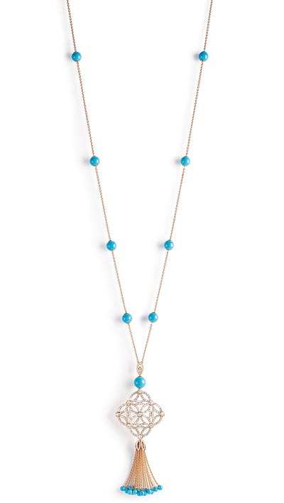 - <b>Extremely Piaget pendant «Décor Dentelle»</b> in18K pink gold set with25 turquoise beads (approx. 48.50 cts) and 356 brilliant-cut diamonds (approx. 5.69 cts).  Ref.:G33LD400