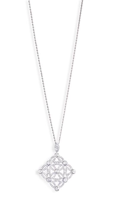 - <b>Extremely Piaget pendant «Décor Dentelle»</b> in18K white gold set with208 brilliant-cut diamonds (approx. 3.47 cts). Ref.:G33LD100