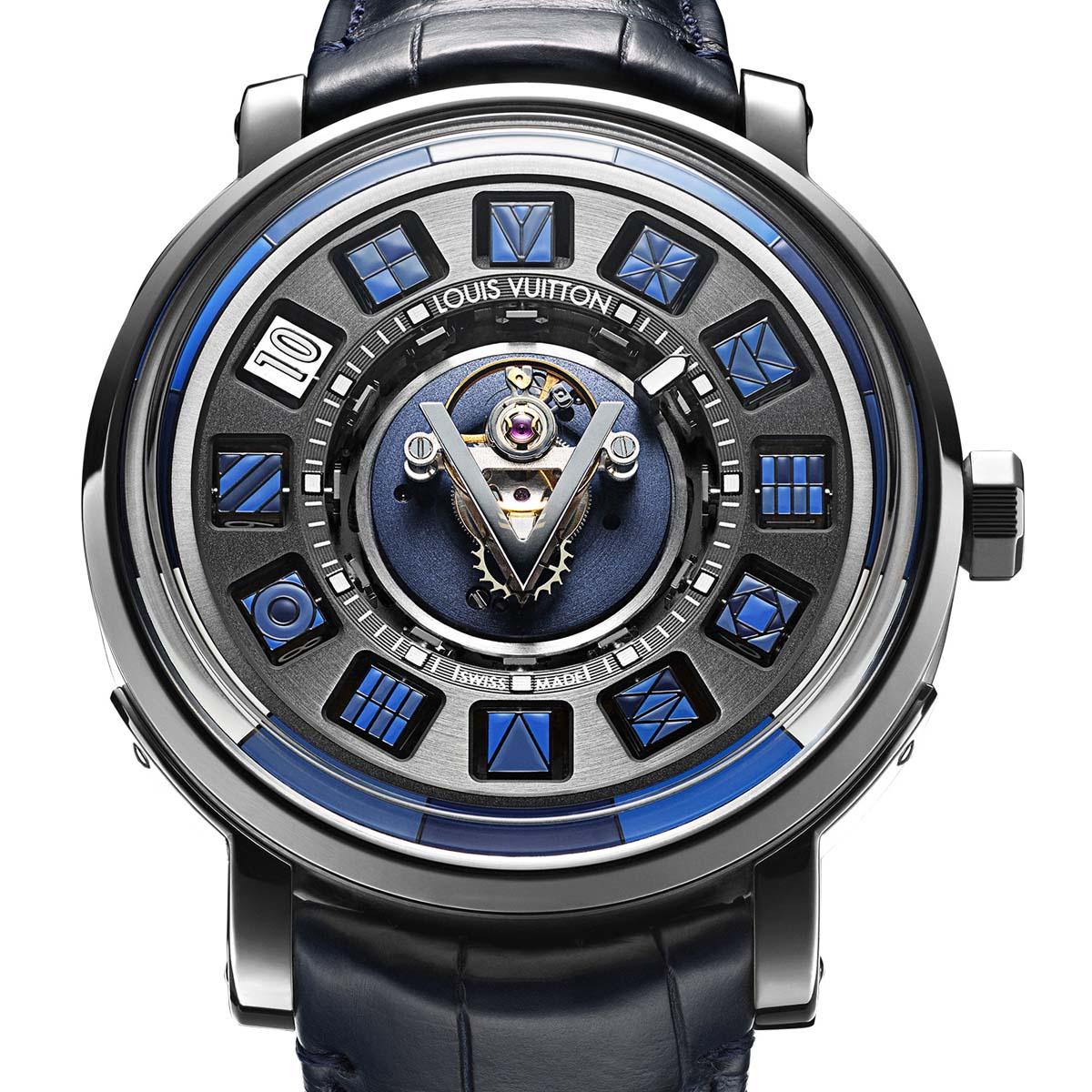 La Cote des Montres : Photo - Louis Vuitton Escale Spin Time Tourbillon Central Bleue