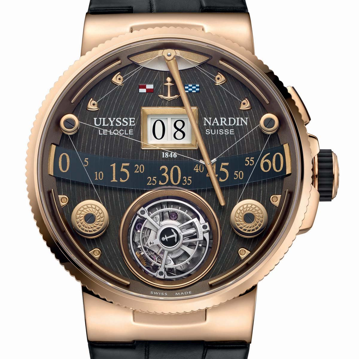 La Cote des Montres : Photo - Ulysse Nardin Marine Grand Deck Tourbillon en or rose