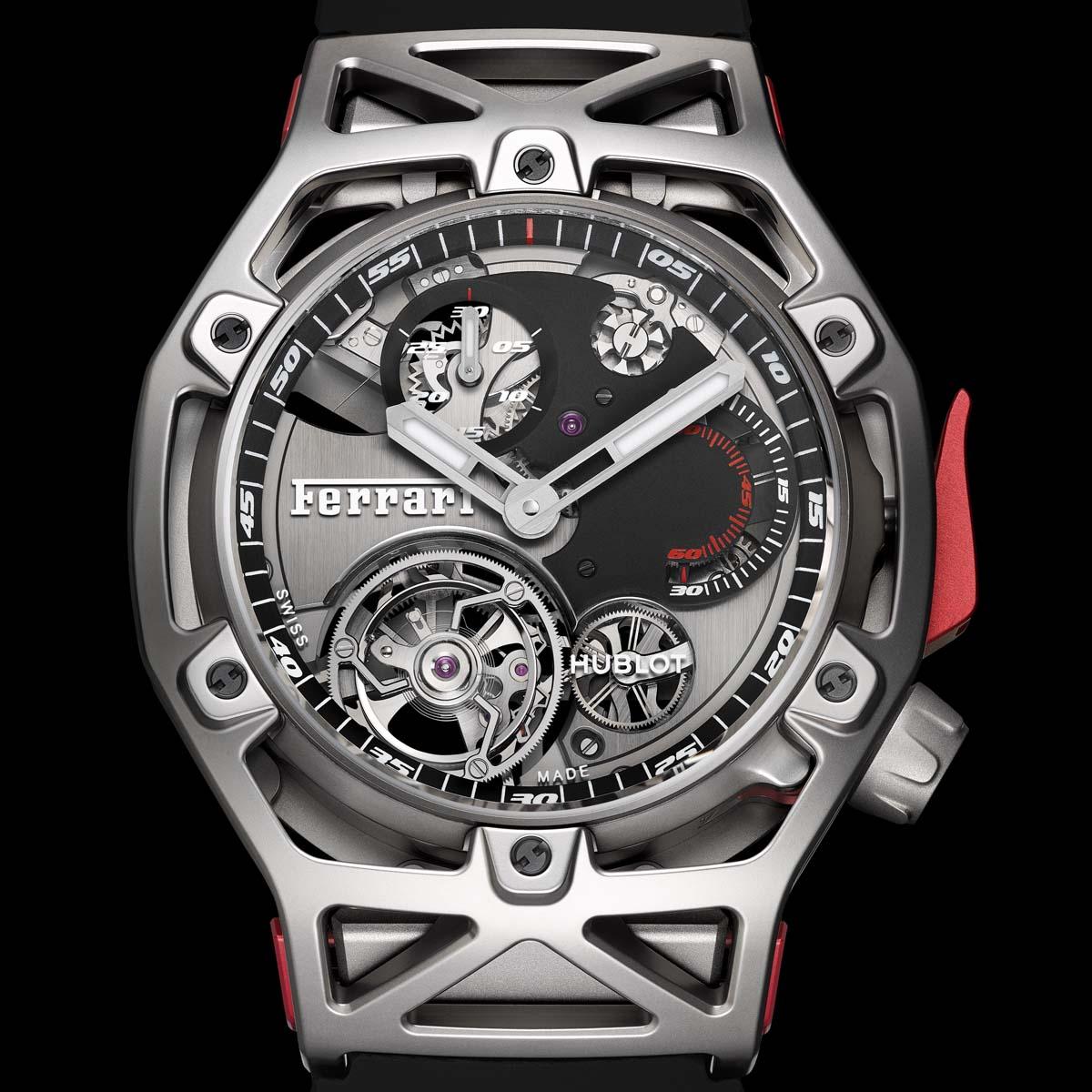 La Cote des Montres : Photo - Hublot Techframe Ferrari 70 Years – Tourbillon Chronograph