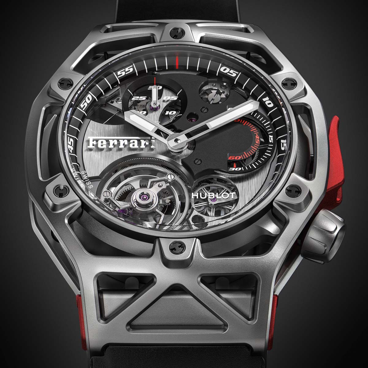 La Cote des Montres : Photo - Hublot Techframe Ferrari 70 Years – Tourbillon Chronograph