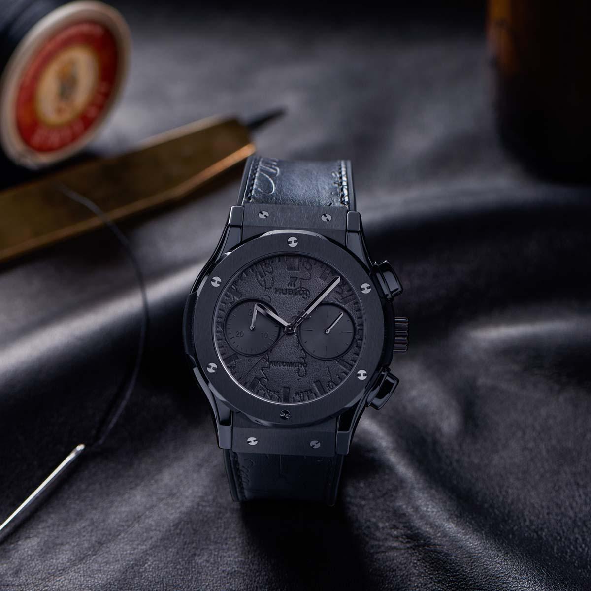 La Cote des Montres : Photo - Hublot et Berluti dévoilent la montre Classic Fusion Chronograph Berluti Scritto