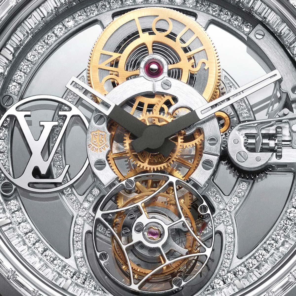 La Cote des Montres : Photo - Louis Vuitton Tambour Moon Tourbillon Volant « Poinçon de Genève » pavée