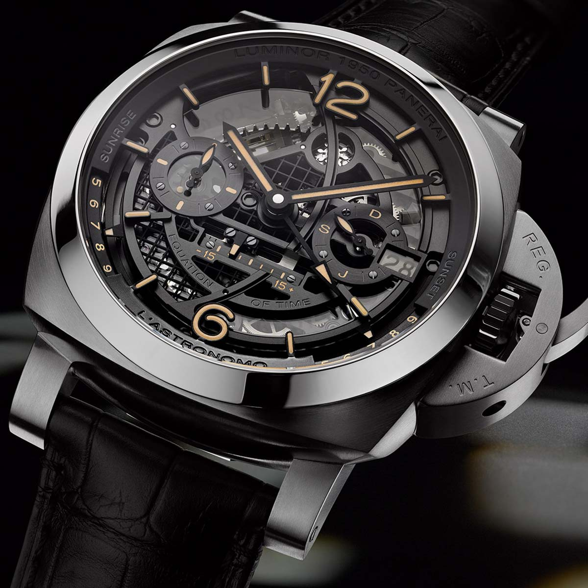 La Cote des Montres : Photo - Panerai L'Astronomo Luminor 1950 Tourbillon Moon Phases Equation of Time GMT – 50MM