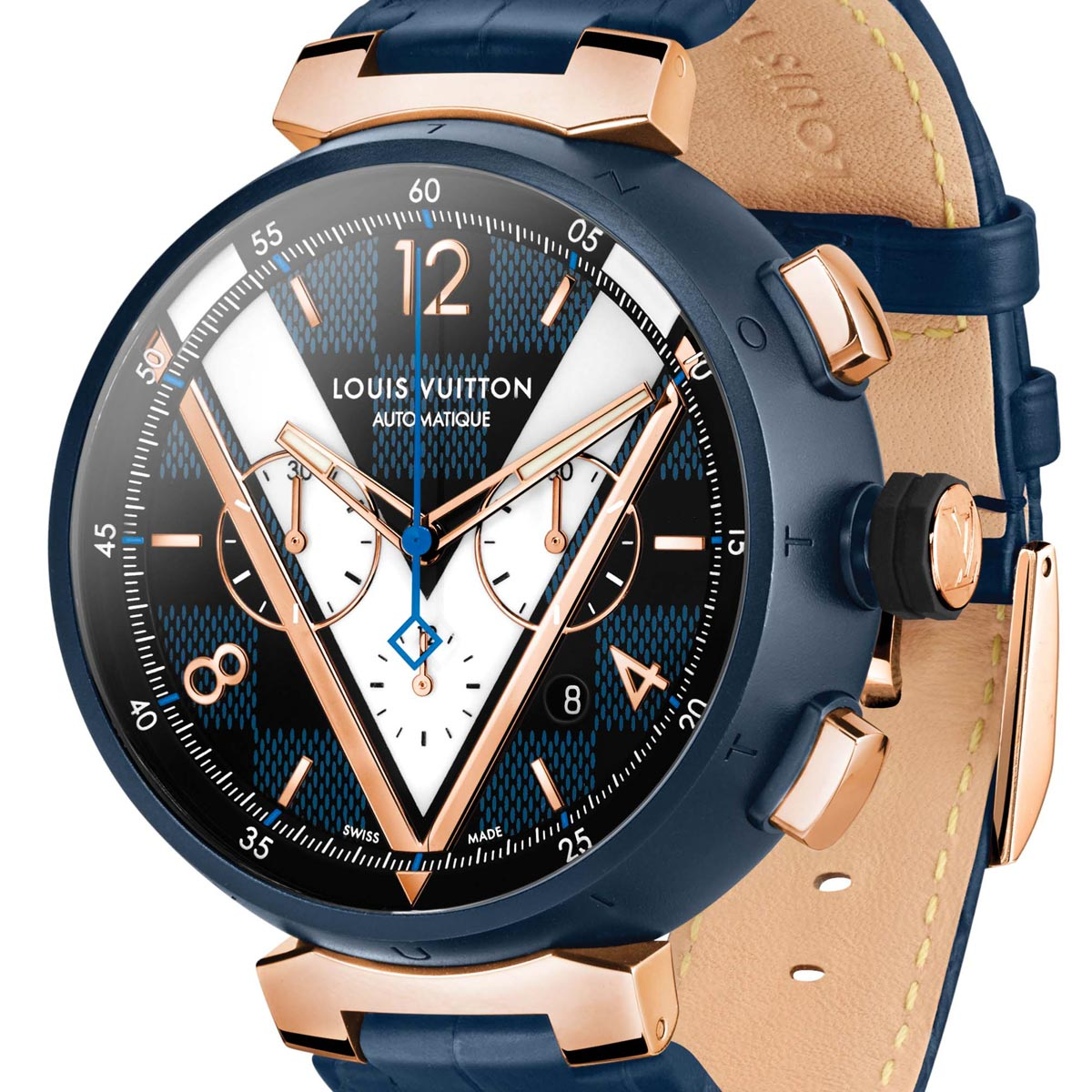 La Cote des Montres : Photo - Louis Vuitton Tambour Damier Cobalt chronographe