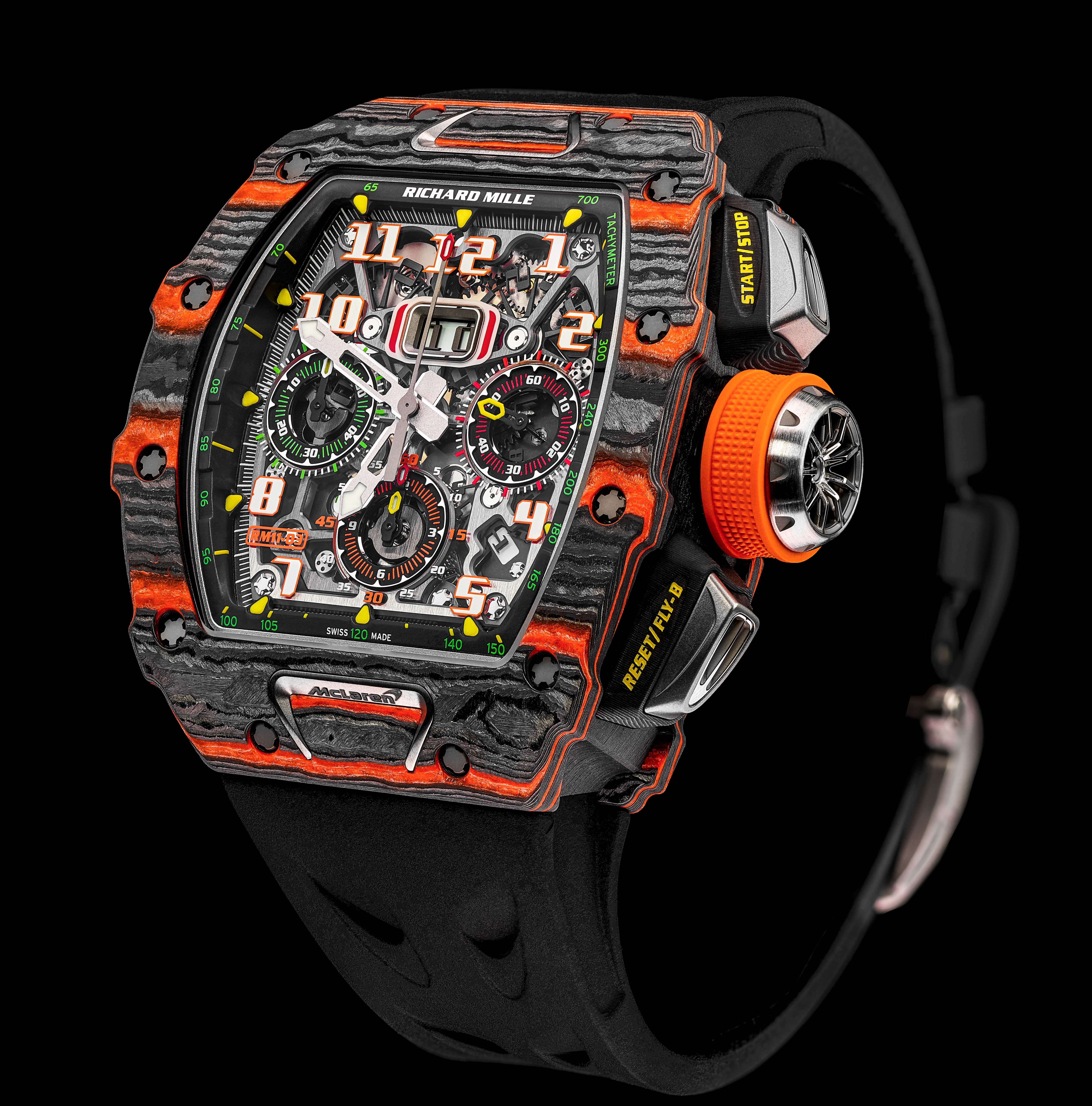 La Cote Des Montres The Richard Mille Rm 11 03 Flyback Chronograph Mclaren Watch Richard Mille Mclaren Automotive Launch Their First Rm 11 03 Mclare Timepiece At The 88th Geneva Motor Show