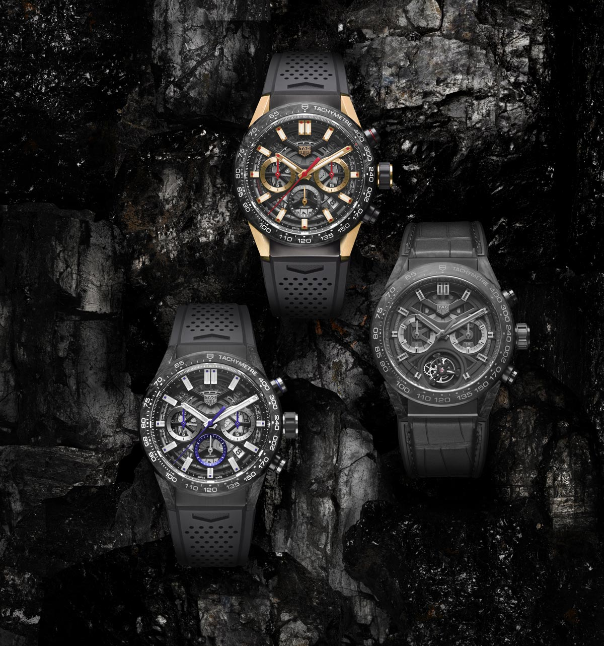 9ba0c2ba7e5 Avant-garde watchmaking meets innovative material  TAG Heuer introduces  three new Carrera timepieces all crafted in carbon. These three  limited-edition ...